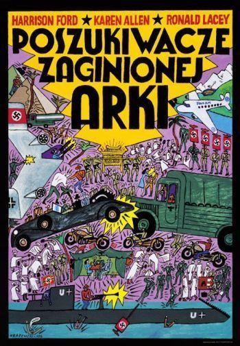Affiche polonaise des Aventuriers de l'arche perdue