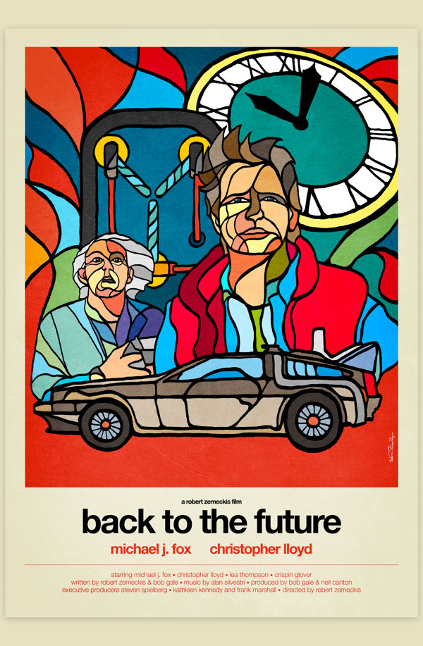 Van Orton Design Affiche Graphisme Retour Futur Michael J.Fox Robert Zemeckis Delorean Hoverboard Hill Valley Vectoriel Vitrail Poster film