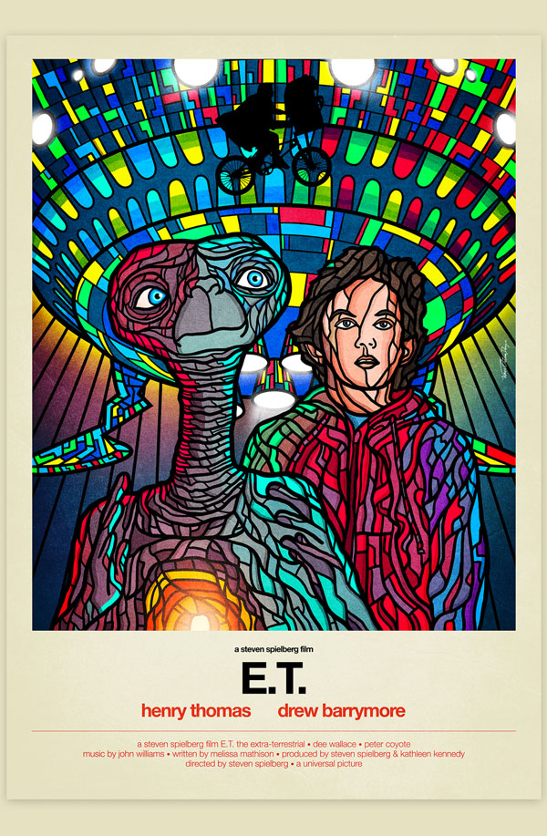 Van Orton Design Affiche Graphisme E.T. Steven Spielberg Alien Science-Fiction Vectoriel Vitrail Poster film