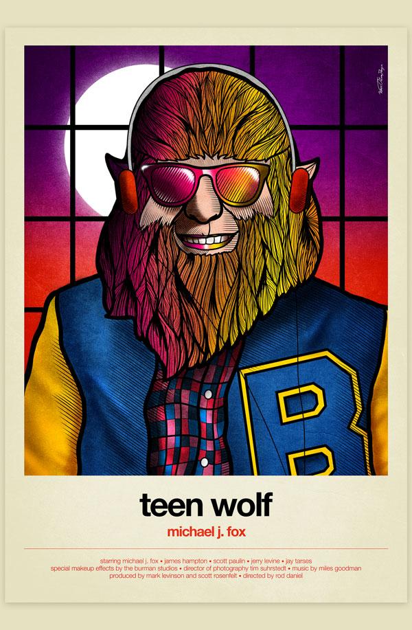 Van Orton Design Affiche Graphisme Teen Wolf Michael J. Fox Loup-garou 1980 Lune Vectoriel Vitrail Poster film