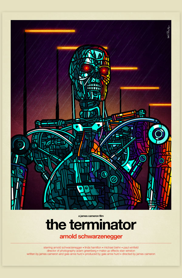 Van Orton Design Affiche Terminator Graphisme Arnold Schwarzenegger James Cameron T-800 Vectoriel Vitrail Poster film