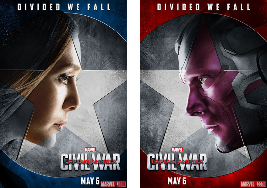 Captain America Civil War Super-héros Marvel versus Iron-Man Scarlet Witch Vision