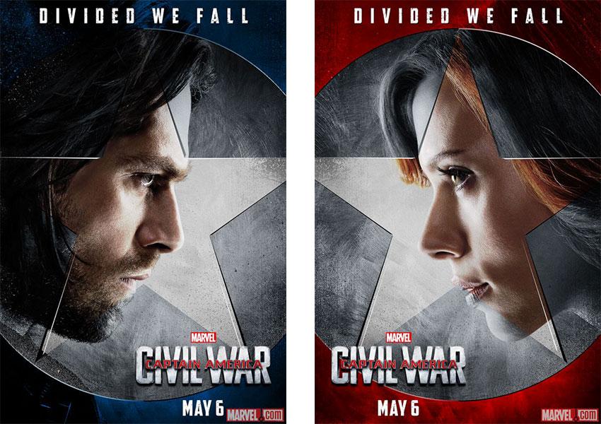 Captain America Civil War Super-héros Marvel versus Iron-Man Winter Soldier Black Widow