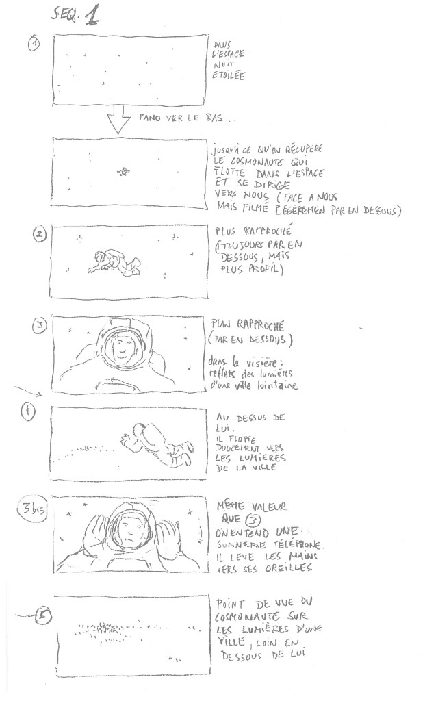 Dominik Moll : Storyboard Des nouvelles de la planète Mars, séquence 1