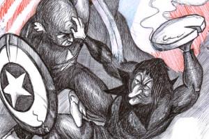 Illustration de Rino Le Match Captain America 3 vs Les Visiteurs 3
