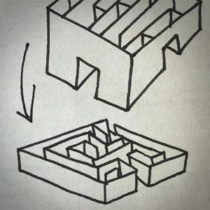 Dessin croquis de labyrinthe