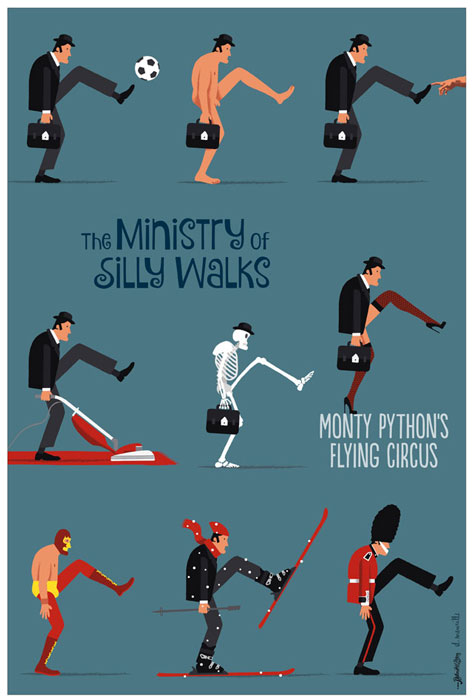 Silly Walks blue par David Merveille