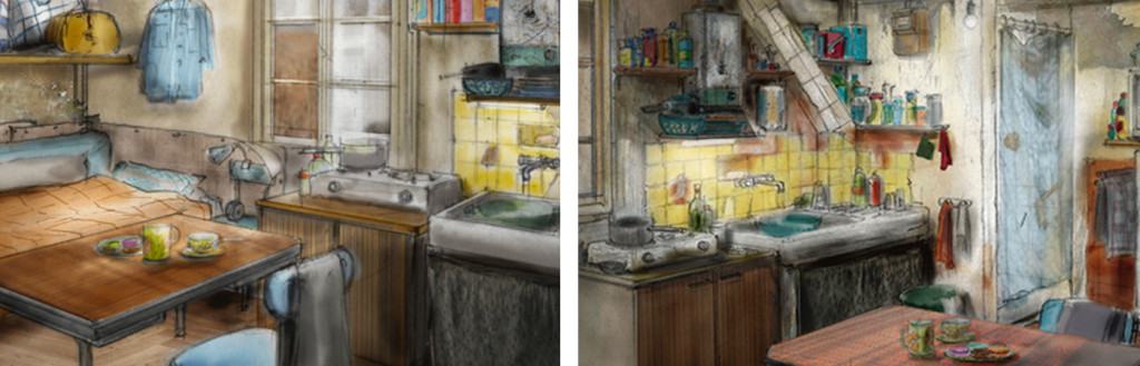 Chambre de Lamouna - Artwork - Décor du film Samba de Olivier Nakache, Eric Toledano. Dessins : © Nicolas de Boiscuille et Maud Gircourt