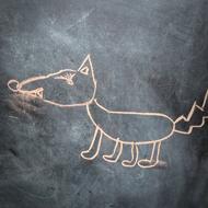 Interview azimutée de Gérard Lanvin : chien à la craie sur ardoise © Annick Holtz