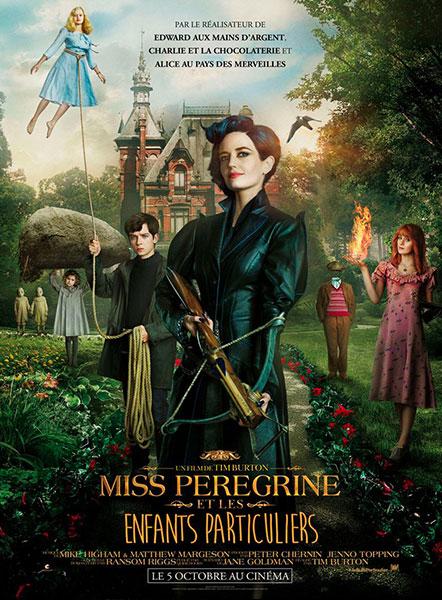 Affiche de Miss Peregrine et les enfants particuliers de Tim Burton avec Eva Green et Asa Butterfield