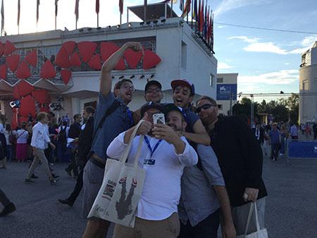 L'équipe de Prank à son arrivée, à la Mostra de Venise