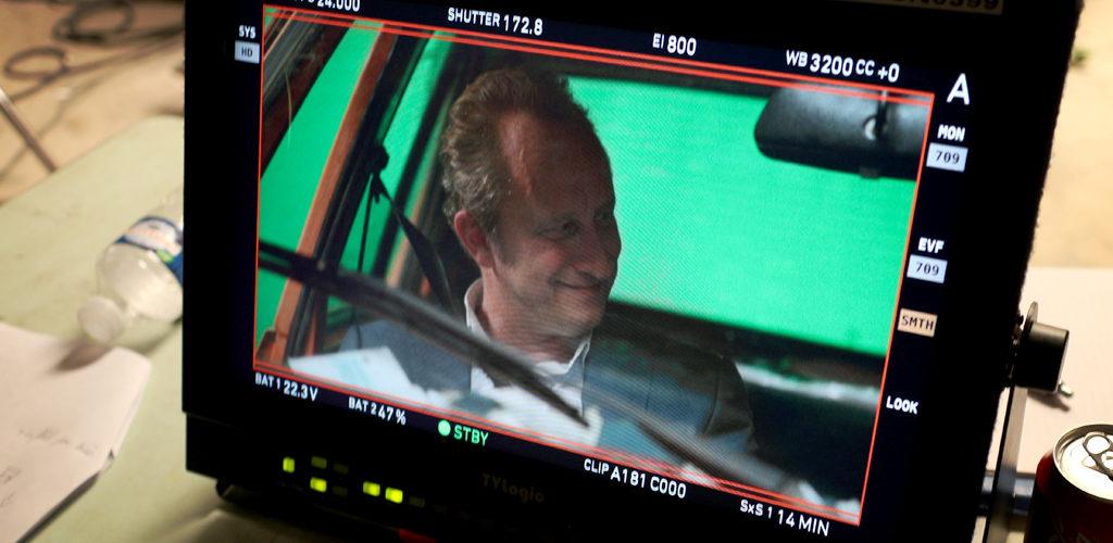 Sur le tournage du film Une famille à louer de Jean-Pierre Améris avec Benoît Poelvoorde.