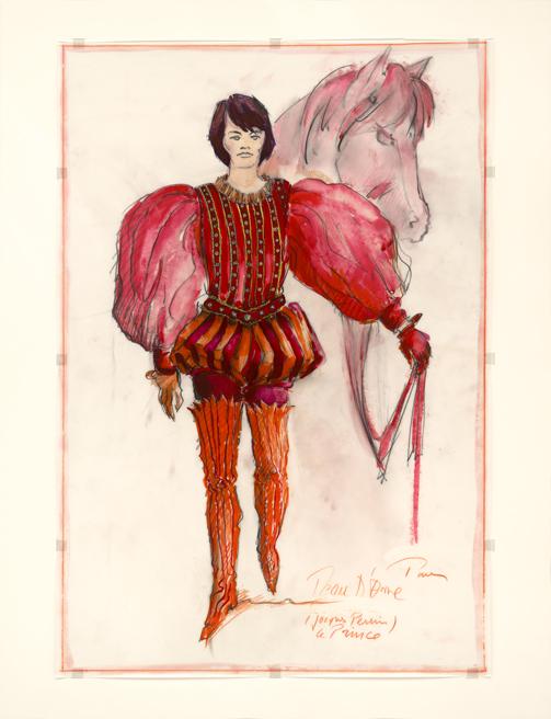 Dessin d'Agostino Pace pour le costume du Prince dans le film Peau d'âne de Jacques Demy, 1970 © Agostino Pace