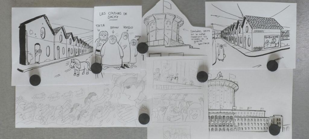 Jacky au royaume des filles réalisé par Riad Sattouf : dessins, storyboard.