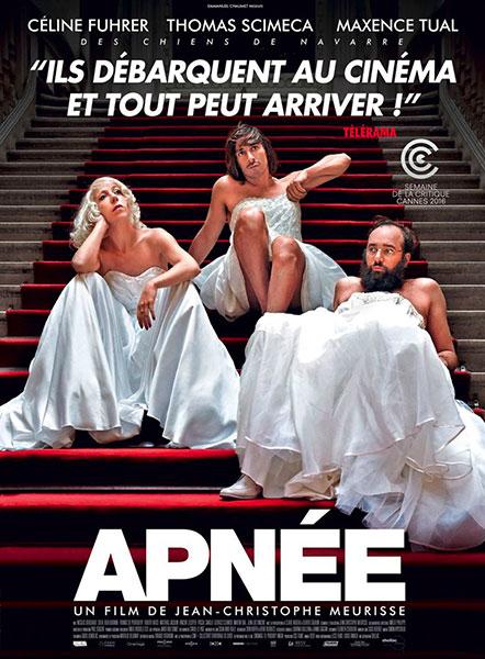 Affiche du film Apnée de Jean-Christophe Meurisse avec Céline Fuhrer, THomas Scimeca et Maxence Tual. Partenaire de Bande à Part.