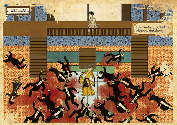 graphisme kill bill tarantino cinéma murat palta orient occident aplat peinture film culte scène
