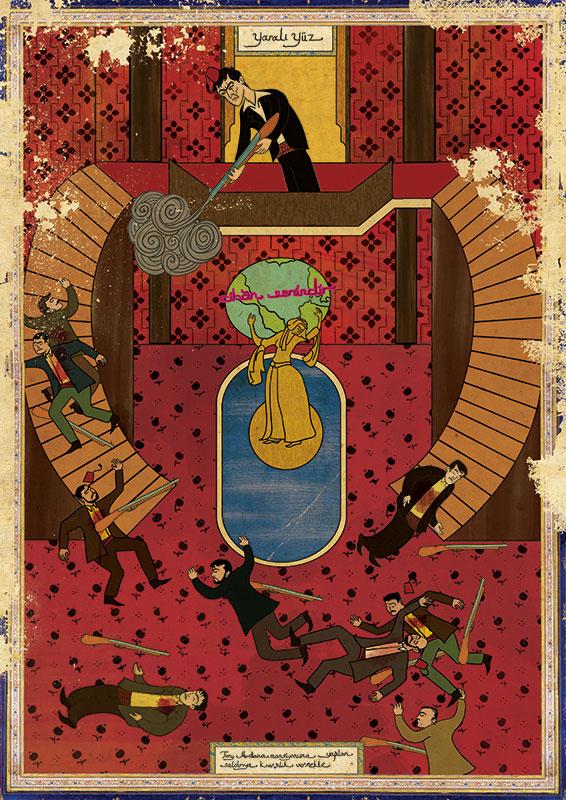 graphisme pacino scarface cinéma murat palta orient occident aplat peinture film culte scène