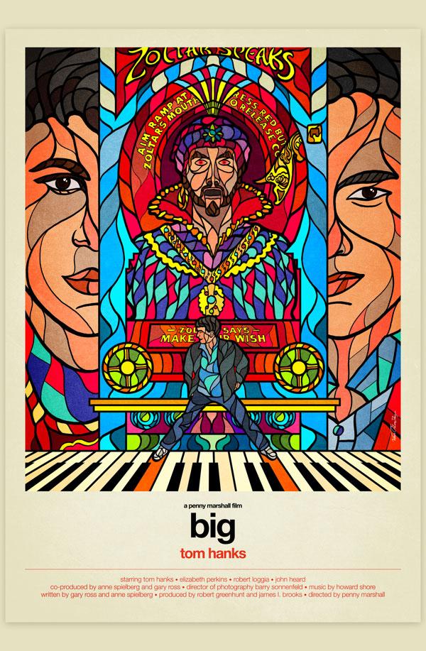 Van Orton Design Affiche Graphisme Big Tom Hanks Zoltar Vectoriel Vitrail Poster film