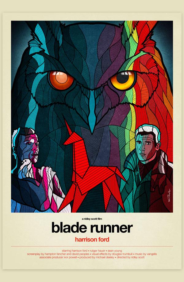 vAffiche Graphisme Blade Runner Harrison Ford Philip K. Dick Ridley Scott Science-Fiction Vectoriel Vitrail Poster film