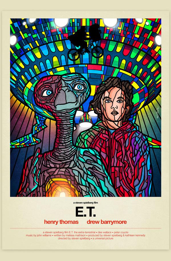 Van Orton Design Affiche Graphisme E.T. Steven Spielberg Alien Science-Fiction Vectoriel Vitrail Poster film