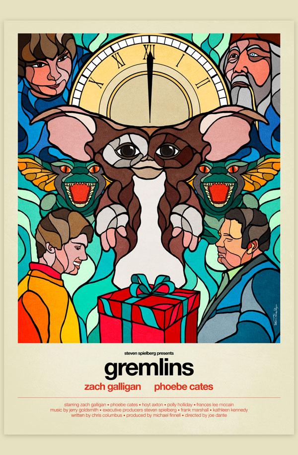 Van Orton Design Affiche Graphisme Gremlins Joe Dante Chris Columbus Mogwai Gizmo Vectoriel Vitrail Poster film
