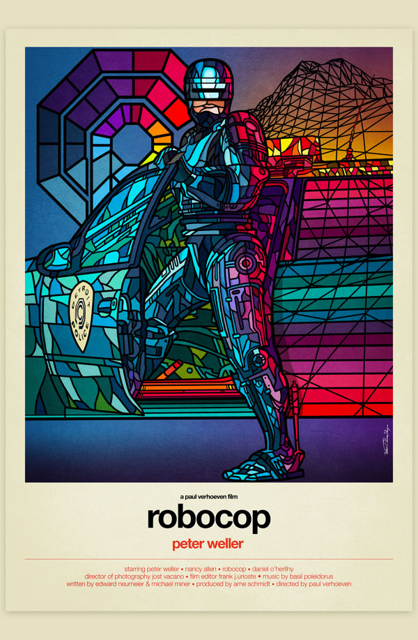 Van Orton Design Affiche Graphisme Robocop Peter Weller Paul Verhoeven Vectoriel Vitrail Poster film