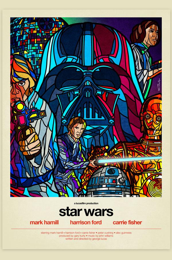 Van Orton Design Affiche Star Wars IV Nouvel espoir Graphisme Han Solo Leïa Luke Skywalker R2D2 Harrison Ford Mark Hamill Carrie Fisher Vectoriel Vitrail Poster film