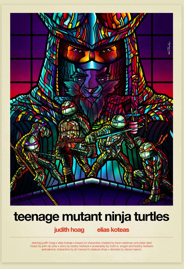Van Orton Design Affiche Tortues Ninjas Graphisme TMNT Shredder Vectoriel Vitrail Poster film