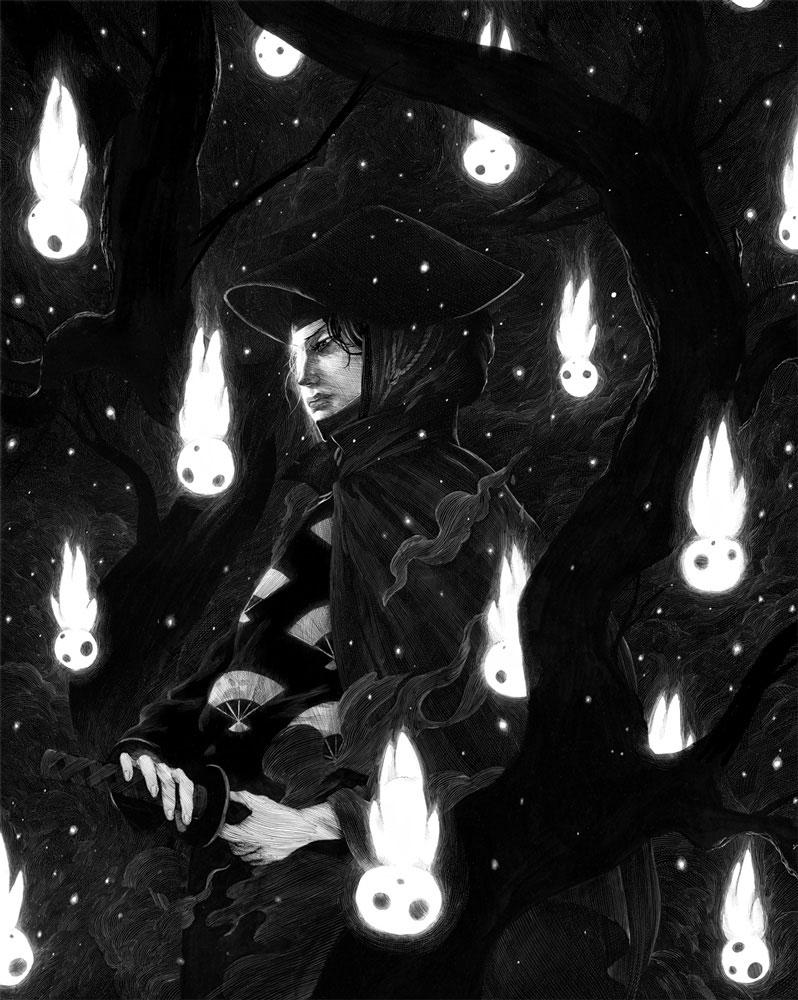 Lady Eboshi, illustration par Nicolas Delort, inspiré par Princesse Mononoké