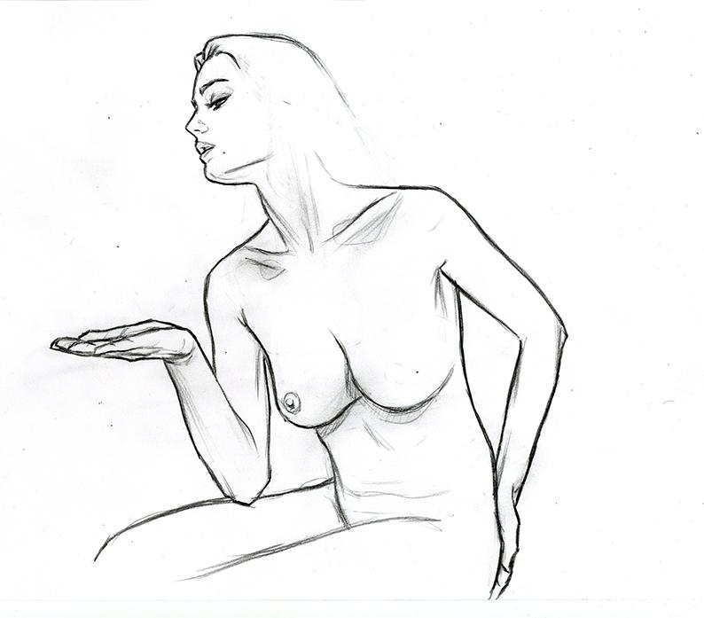 Affiche de L'étrange couleur des larmes de ton corps, créée par Gilles Vranckx. Étape 1 : Croquis