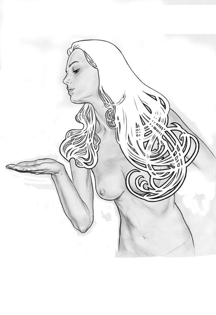 Affiche de L'étrange couleur des larmes de ton corps, créée par Gilles Vranckx. Étape 3 : Retouches numériques.