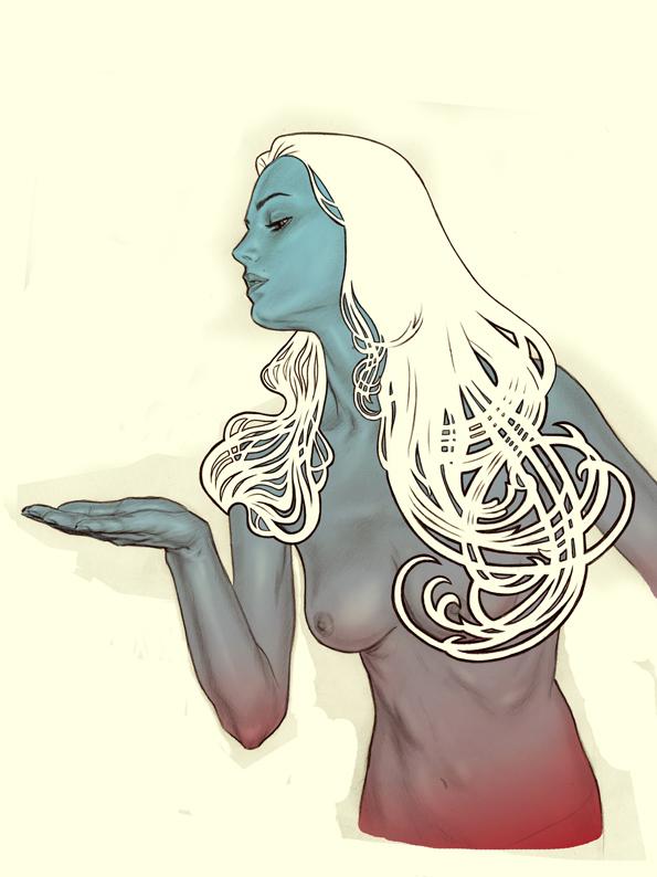Affiche de L'étrange couleur des larmes de ton corps, créée par Gilles Vranckx. Étape 4 : Retouches numériques.