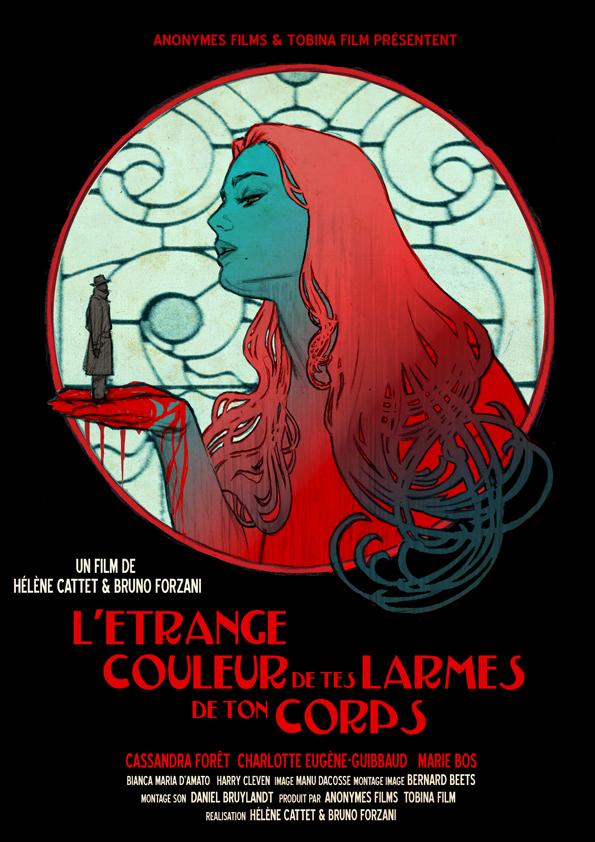 Affiche de L'étrange couleur des larmes de ton corps, créée par Gilles Vranckx. Étape 6 : Compositions intermédiaires.