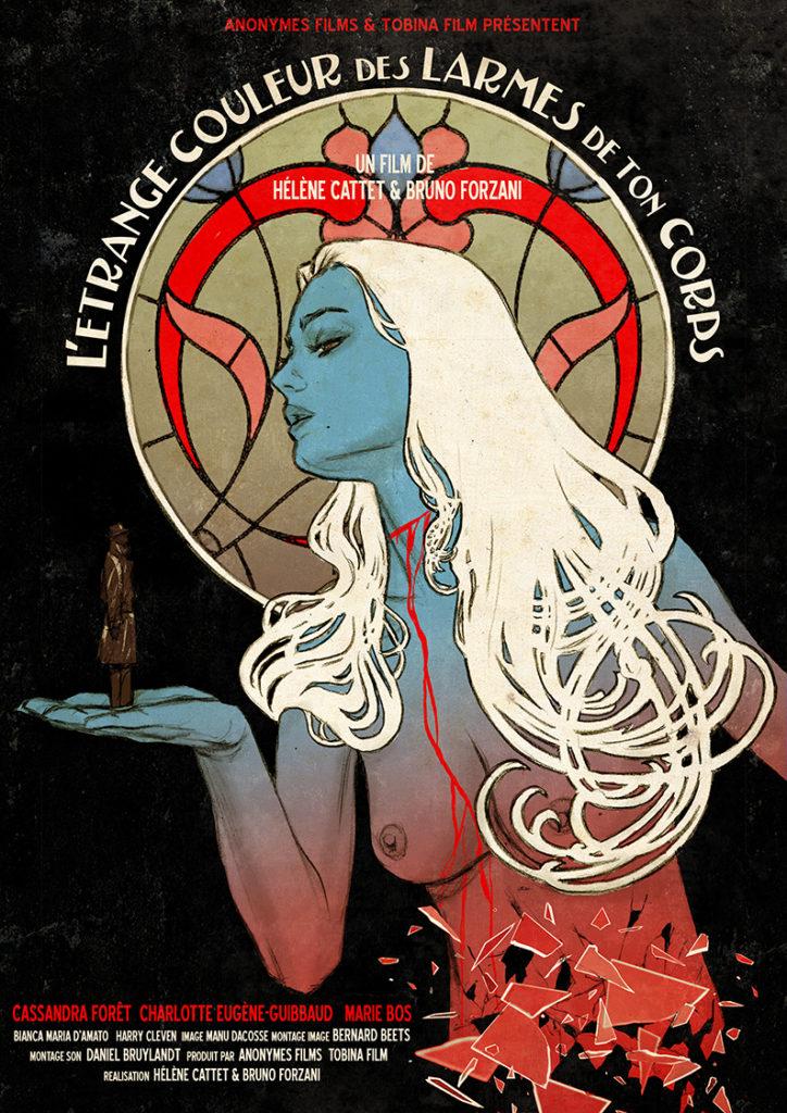 Affiche de L'étrange couleur des larmes de ton corps, créée par Gilles Vranckx. Étape 7 : Compositions intermédiaires.