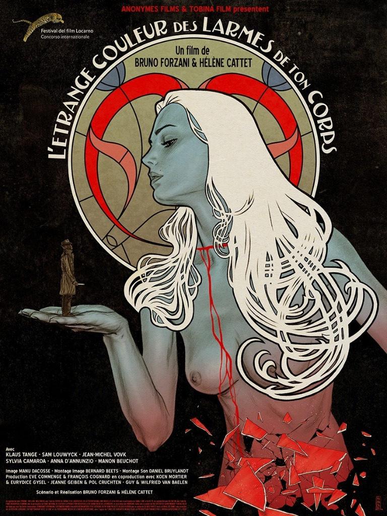 Affiche de L'étrange couleur des larmes de ton corps, créée par Gilles Vranckx. Étape 8 : Composition finale.